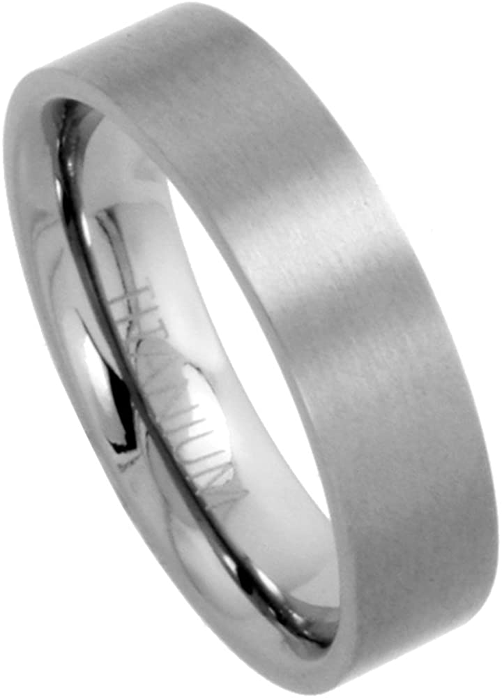 Sabrina Silver 6mm Titanium Wedding Band/Thumb Ring Plain Flat Comfort-Fit Brushed 5/16 inch Sizes 5-12