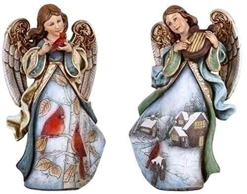 Angel Christmas Figure (Set of 2 Joseph's Studio Snowfall Valley Scenic Angel Christmas Figures)
