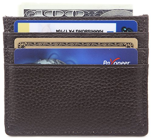 DEEZOMO Genuine Leather RFID Blocking Card Case Wallet Slim Super Thin 6 Card Slots Compact Wallet - Coffee