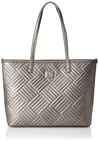 Pu Pewter Moschino Love Gris Trapuntato Pebble Cabas Borsa 6gUg1qtw7
