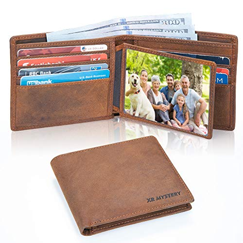 XR MYSTERY RFID Blocking Wallet for Men Minimalist Slim Bifold Stylish Crazy Horse Leather Men's Wallet, 2 ID Window