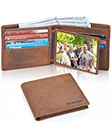 XR MYSTERY RFID Blocking Wallet for Men Minimalist Slim Bifold Stylish Crazy Horse Leather Men's Wallet, 2 ID Window
