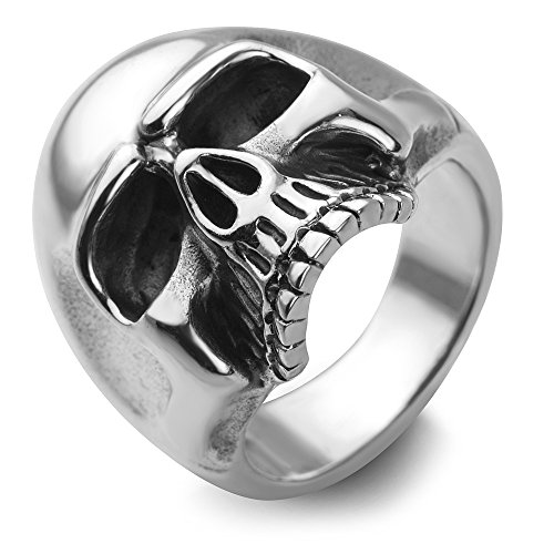 Chuvora Sterling Silver Vintage Gothic Skull Head Band Ring Men Women Unisex Size 9]()