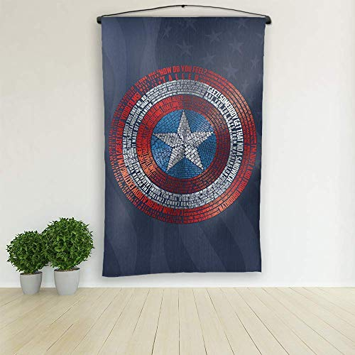 - Captain America word art tapestry 30x60