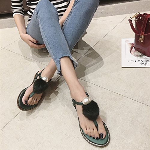 JUWOJIA T Sandals Sandals Sandals Buckle New Sweet Pearl Lady Toe Summer negro rp4qBr0w