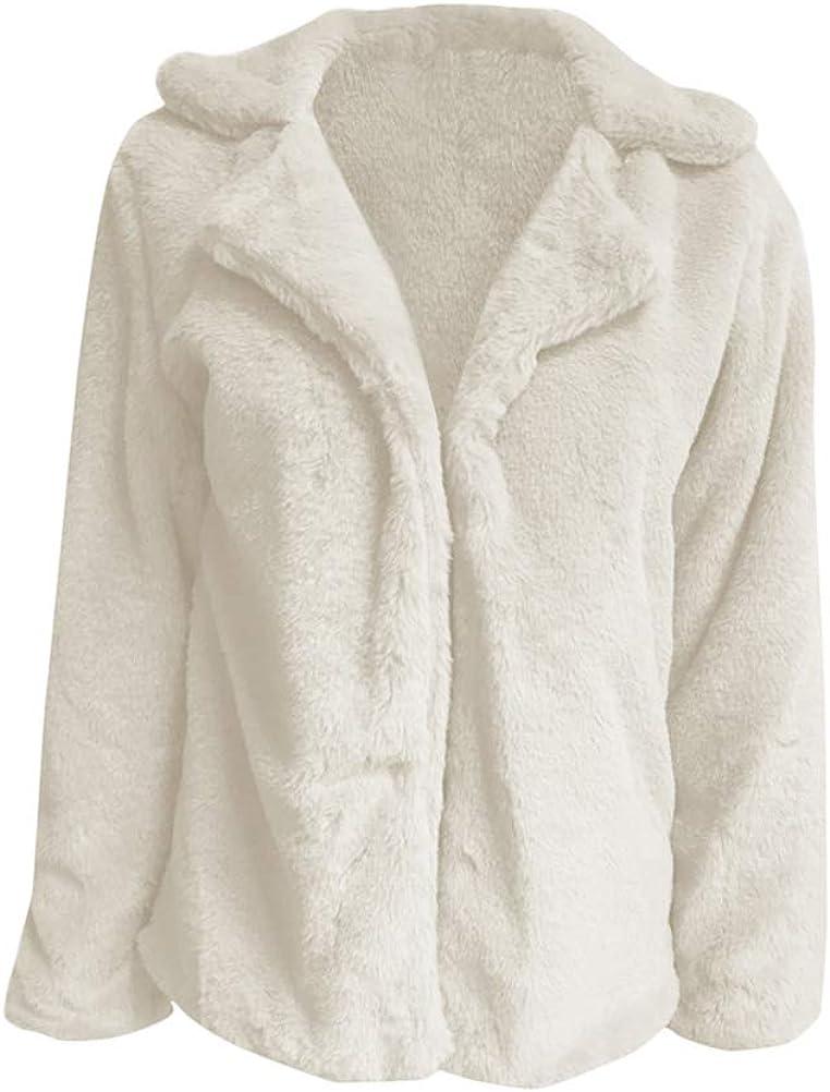 ShallGood Damen Teddy-Fleece Mantel Elegant Revers Wollmantel Lang Herbst Winter Warm Fellmantel Dicker Wolljacke Faux Fur M/äntel Einfarbig Cardigan Strickjacke