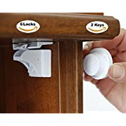 Baby & Child Proof Cabinet & Drawers Magnetic Safety Locks Set 6 + 2 Keys+ 2 Adjustable Straps Lucking System with 3M Adhesive Tape No Drilling Easy to Install without damaging Your Furniture