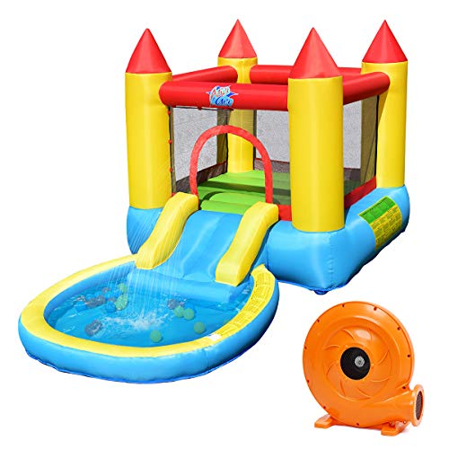 Costzon Inflatable Bounce House, Castle Jumping Bouncer with Water Slide, Splashing Water Pool, Including Oxford Carry Bag, Repairing Kit, Stakes, Water Hose, Ocean Balls (with 580W Air Blower)