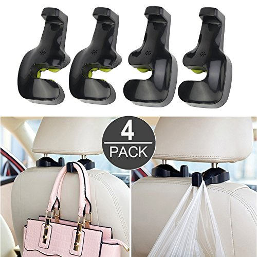 ILamourCar 4 PACK Car Headrest Hooks, Space Saving Auto Back Seat Hidden Hooks Seat Headrest Hanger Coat Purse Bag Hanging Black - May also be used with Bags or Groceries