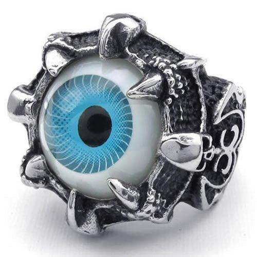 KONOV Stainless Steel Gothic Skull Dragon Claw Evil Eye Biker Mens Ring, Blue - Size 8