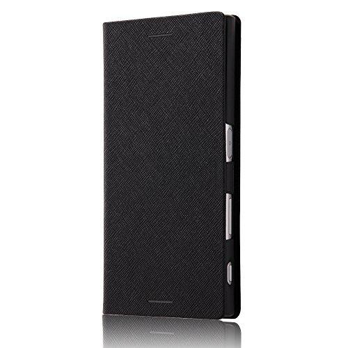 旋律的処方する文字レイ?アウト Xperia XZ ケース / Xperia XZs ケース 手帳型 レザー マグネット / ブラック RT-RXPXZSLC3/JB