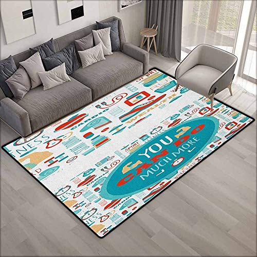Pet Rug,Fitness You Can Do Much More Encouraging Phrase with Gym Icons Cardio Sport Wellness,Anti-Slip Doormat Footpad Machine Washable,3'3