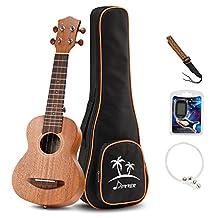 Donner Soprano Ukulele Mahogany DUS-1 21 inch with Ukulele Set Strap Nylon String Tuner