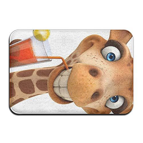 Wyuhmat1 Giraffe Juice 15.7 X 23.6 Inch (40x60cm) Print Rubber Backed Mat Non Slip Doormat Play/Bedroom/Sleeping/Baby Crawling -