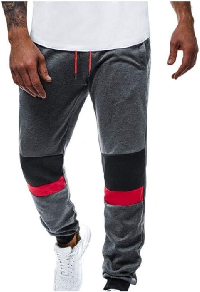 VITryst 男性ドローストリングポケットスプライシングスモックウエスト快適なジョギングパンツ