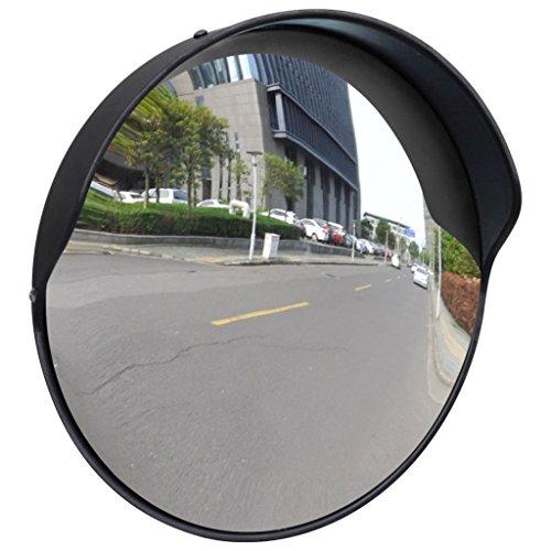 Wide Angle Security Convex Traffic Mirror PC Plastic Black 12