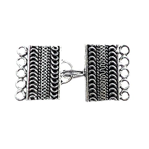 Silver Overlay Multi Strand Clasp With 5 Holes (Jewelry Clasp Silver Overlay)