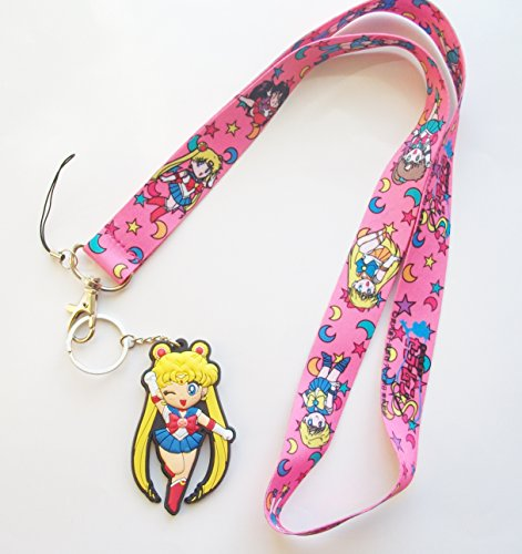 """3"""" Sailor Moon PVC Rubber Keychain with Lanyard"""