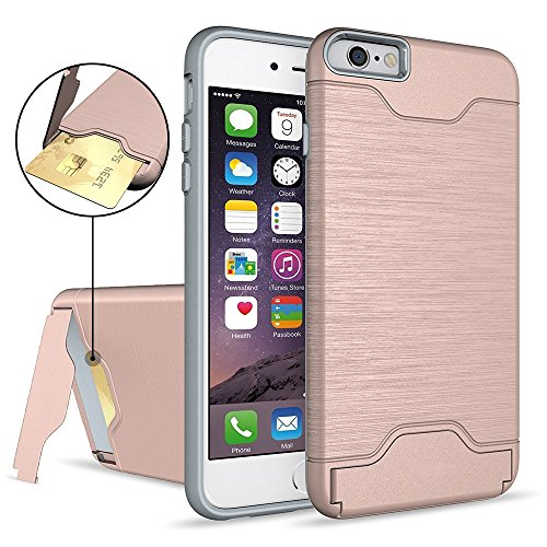 iPhone 6S Plus Case,AOFU [Wallet Armor] Card Holder [Dual Layer] Hybird Shock Proof Protective with Kickstand Feature Premium Bumper Wallet Case for iPhone 6 Plus/6S Plus 5.5 Inch-Rose Gold