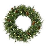 Brookstone Cordless Pre-Lit LED Mixed Cedar Wreath