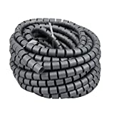 uxcell 25mm x 15m Flexible Spiral Tube Cable Wire Wrap Computer Manage Cable Gray