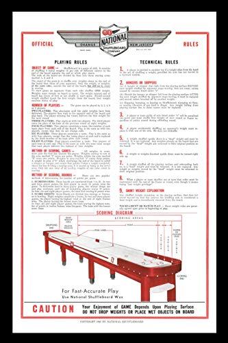Zieglerworld Framed Art - National Shuffleboard Table Rules and Regulation Poster - Set of Two - Framed