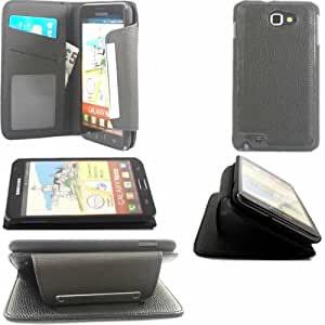 2 Piece Flip Credit Card Holder With Detachable Tapa Dura Cubrir Caso Piel Para Samsung Galaxy Note N7000 / Black