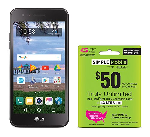 Simple Mobile LG Rebel 2 4G LTE Prepaid Smartphone with Free $50 Unlimited Bundle