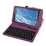 """Insignia NS-P08A7100 Bluetooth Keyboard Case,Mama Mouth Slim Stand PU Leather Case Cover With Romovable Bluetooth Keyboard For 8"""" Insignia Flex NS-P08A7100 Andriod 6.0 Tablet 2016,Purple"""