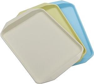 Yubine Plastic Serving Tray/ Rectangular Fast Food Tray, 3-Piece