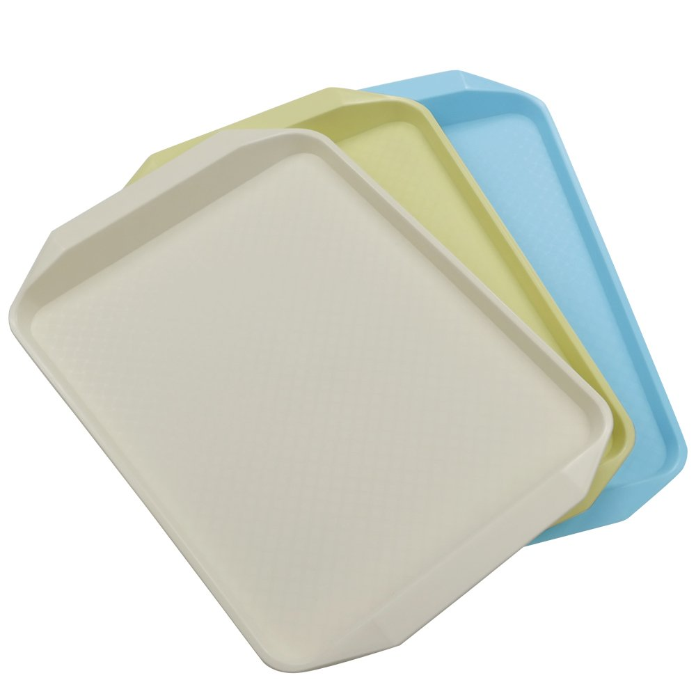 Yubine Plastic Serving Tray/ Rectangular Fast Food Tray, 3-piece