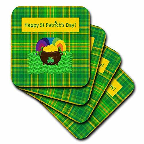 (3dRose Beverly Turner St Patrick Day Design - Happy St Patrick Day, Pot of Gold on Four Leaf Clover Design, Plaid - set of 4 Ceramic Tile Coasters (cst_280570_3))