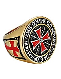 316L Stainless Steel Ring for Men Knight Templar Cross Ring Masonic Rings