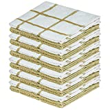 DecorRack 12 Pack Kitchen Dish Towels, 100% Cotton, 12 x 12 Inch Premium Dish Cloths, Perfect Cleaning Cloth for Washing Dishes, Kitchen, Bar, Counter and Car, Checkered Beige White (Pack of 12)