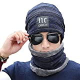 2-Pieces Winter Beanie Hat Scarf Set Warm Knit Hat Thick Knit Skull Cap For Men Women