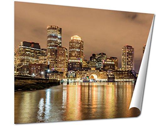 Ashley Giclee Fine Art Print, Boston Down Town Sky Line At Night, 16x20, - Town Down Boston