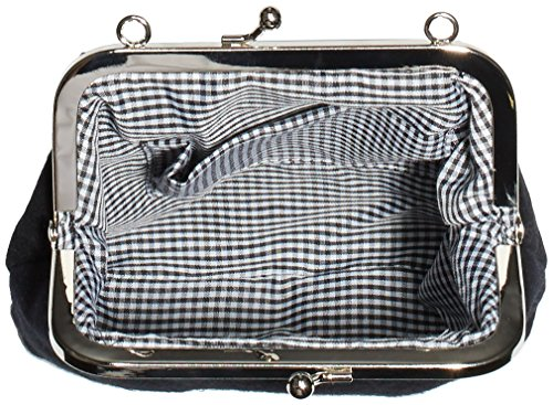 Werner Trachten 05679 - Bolso de hombro de lana mujer negro - Schwarz (Schwarz-Stick natur 999/3)