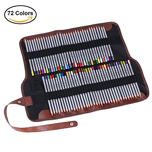 GHB Colored Pencil 72 Color For Sketch Secret Garden Coloring Book With One Roll Up Canvas