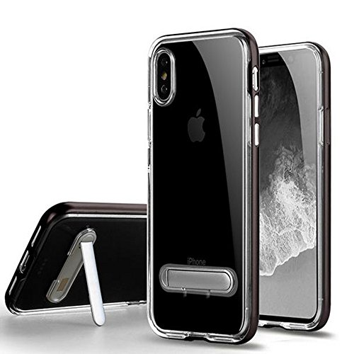 Price comparison product image iPhone X 3 in 1 Case, Auroralove Black iPhone X TPU Back Cover+PC Frame+Kickstand Case, Very Soft Clear Thin Shockproof Case for iPhone X in 2017