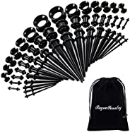 50 Pieces Ear Stretching Kit 14G-00G by JieyueJewelry - Acrylic Tapers and Plugs + Silicone Tunnels - Ear Gaug