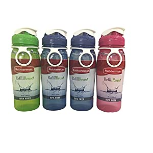 Rubbermaid Refill, Reuse 20-Ounce Chug Bottle, 1 Pack of 4 Assorted bottles