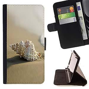 - Sea Shell Beach Sand Macro/ Personalizada del estilo del dise???¡¯???¡Ào de la PU Caso de encargo del cuero del tir???¡¯????n del s - Cao - For Samsung