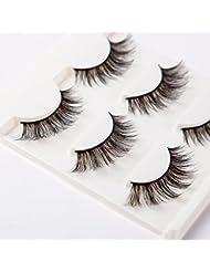 3D False Eyelashes Extension 3Pairs Long Lashes With Volume for Women's Make Up Handmade Soft Fake Eyelash