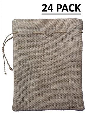 Cotton Craft - 24 Burlap Jute Gift Bag - 100% Natural Eco-friendly Natural Jute