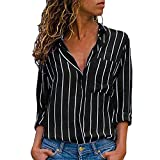 #6: vermers Clearance Women Button Down Shirt Womens Casual Long Sleeve Striped Printed Blouse Tops