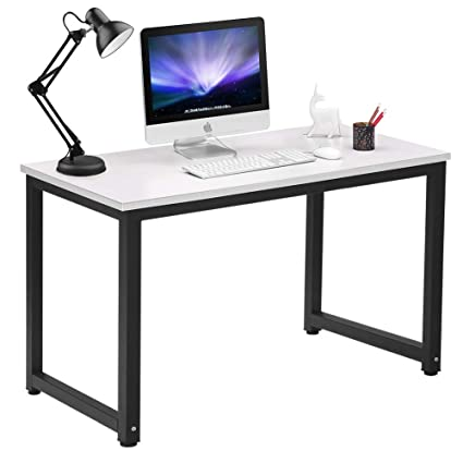 Coleshome Writing Computer Desk Modern Simple Study Desk Industrial Style Home  Office White Notebook Desk