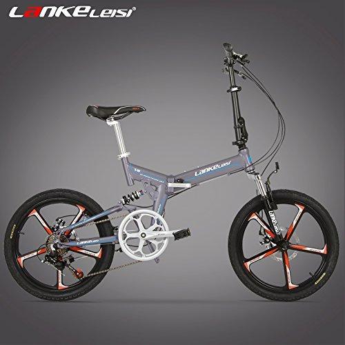 V8 20インチ折りたたみ自転車、一体型マグネシウム合金リム、両方のディスクブレーキ、最高品質のスピードコントロールシステム、7スピード B0792QQWKR 灰 灰