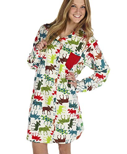 Pattern Moose Women's Flannel Button Down by LazyOne | Cute Animal Nightgowns for Ladies (L/XL)