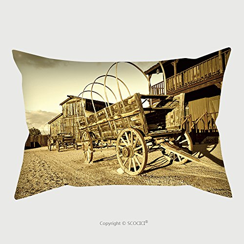 Custom Satin Pillowcase Protector Wild West Cowboy Town With Wagon In Foreground 68311408 Pillow Case Covers Decorative by chaoran