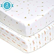 American Baby Company 2 Piece Printed 100% Cotton Jersey Knit Fitted Crib Sheet for Standard Crib and Toddler Mattresses, Sparkle Gold/Pink Feathers/Arrows